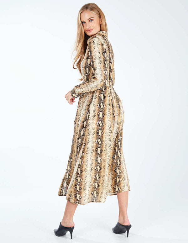 SAMANTHA - Maxi Gold Snakeskin Shirt Dress