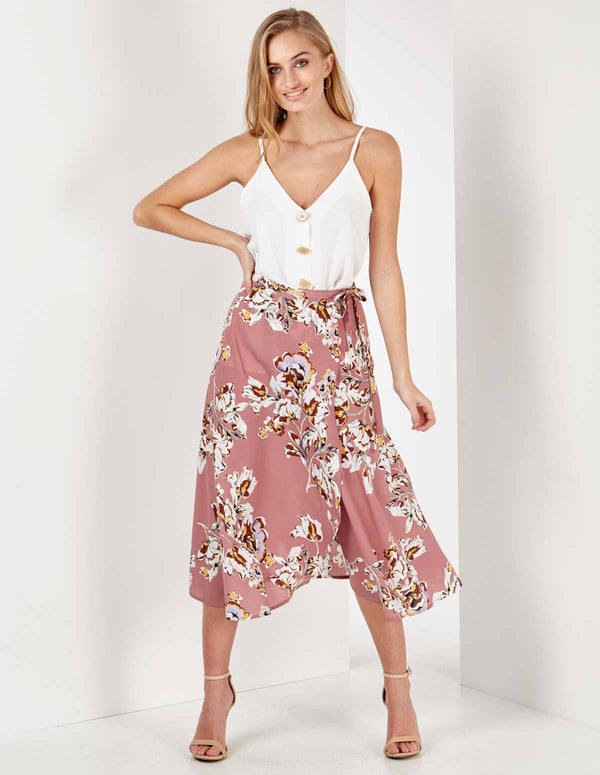 ARABELLA - Floral Print Blush Midi Wrap Skirt