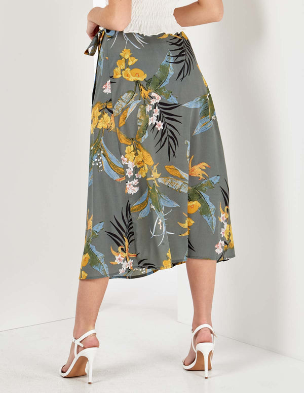 EMERIE - Floral Print Midi Green Wrap Skirt