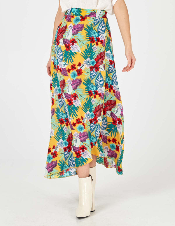 XIMENA - Maxi Wrap Floral Print Yellow Skirt