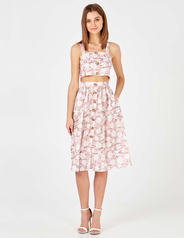 ADDISON - Pink Button Through Skirt