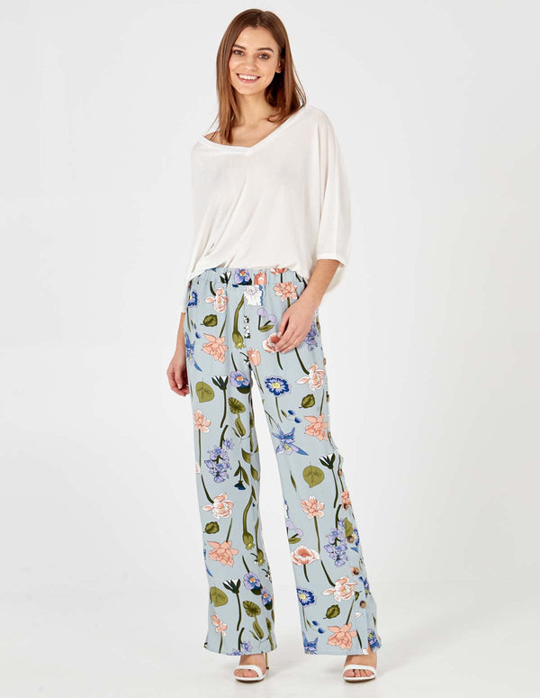 MIRANDA - Floral Print Button Side Pale Blue Trousers