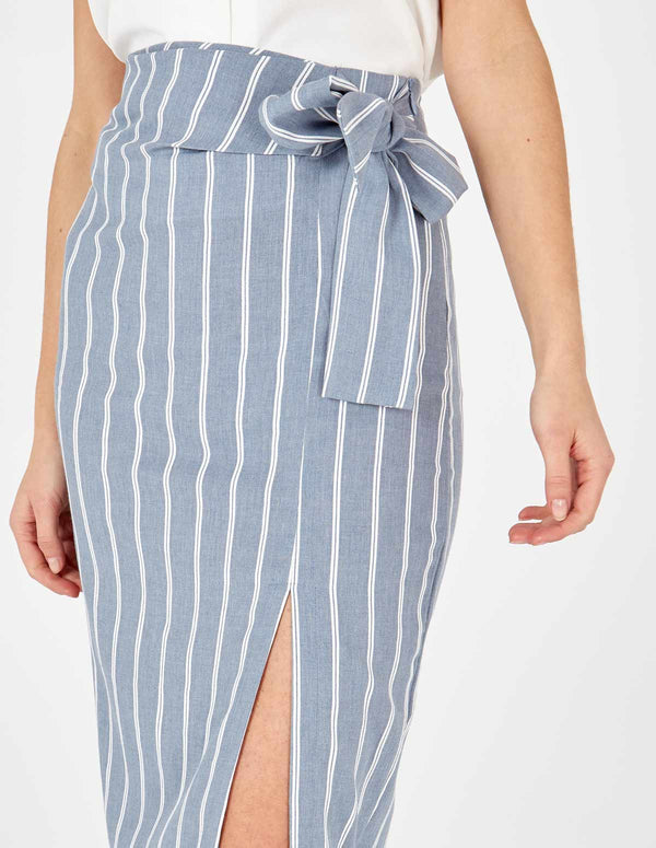 LUNA - Tie Detail Midi Blue Skirt