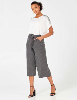 KAYA - Black/White Stripe Belted Culottes