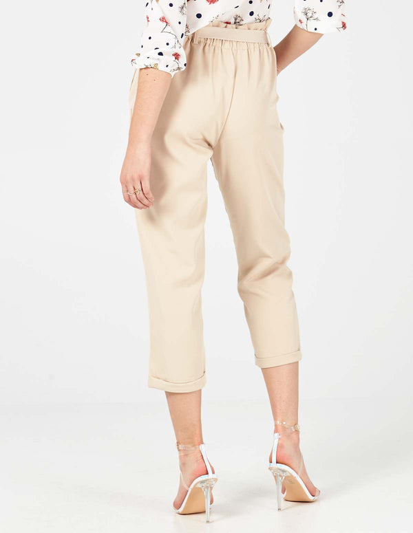 INGRID - Stone Belted Hight Waist 3/4 Trouser