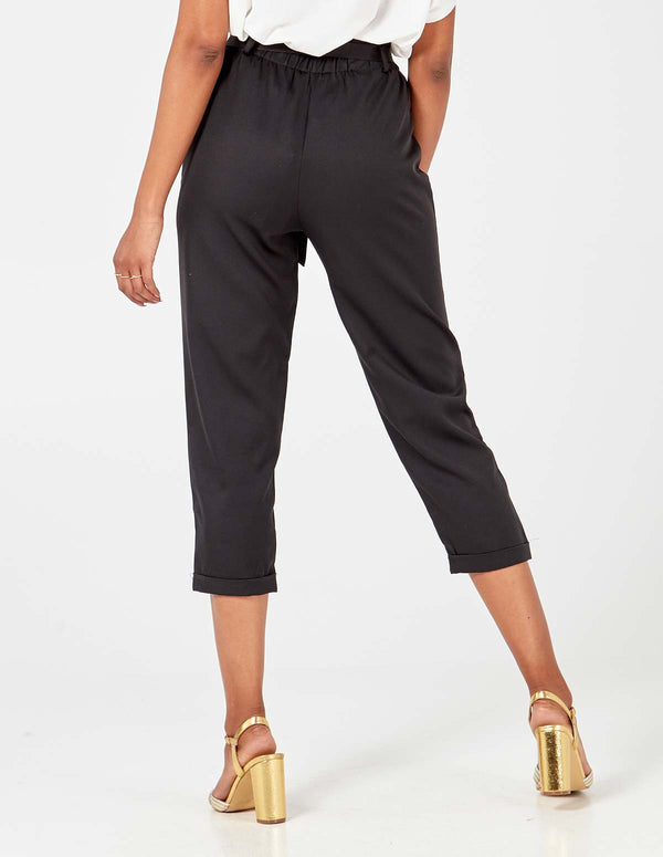 INGRID - Black Belted Hight Waist 3/4 Trouser
