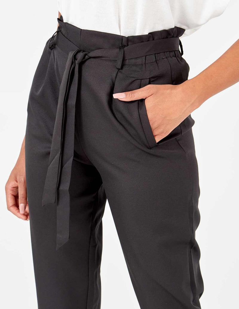 INGRID - Black Belted Hight Waist 3/4 Trousers