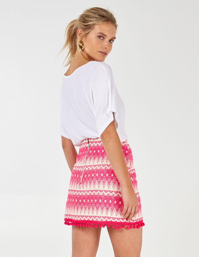 BAMBI - Hot Pink Tapestry Mini Skirt