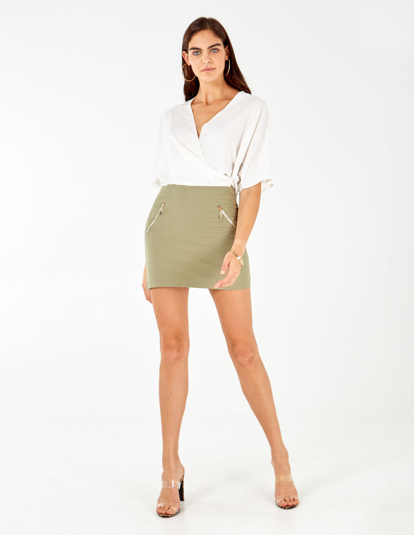 MENORCA - Plain Mini Khaki Skirt