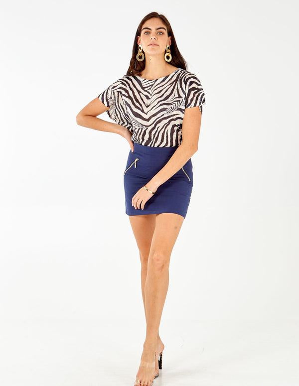 MENORCA - Plain Mini Navy Skirt