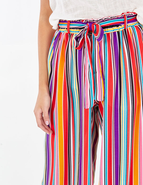 PHOEBE - Sash Belt Multi Colour Pallazzo Trouser