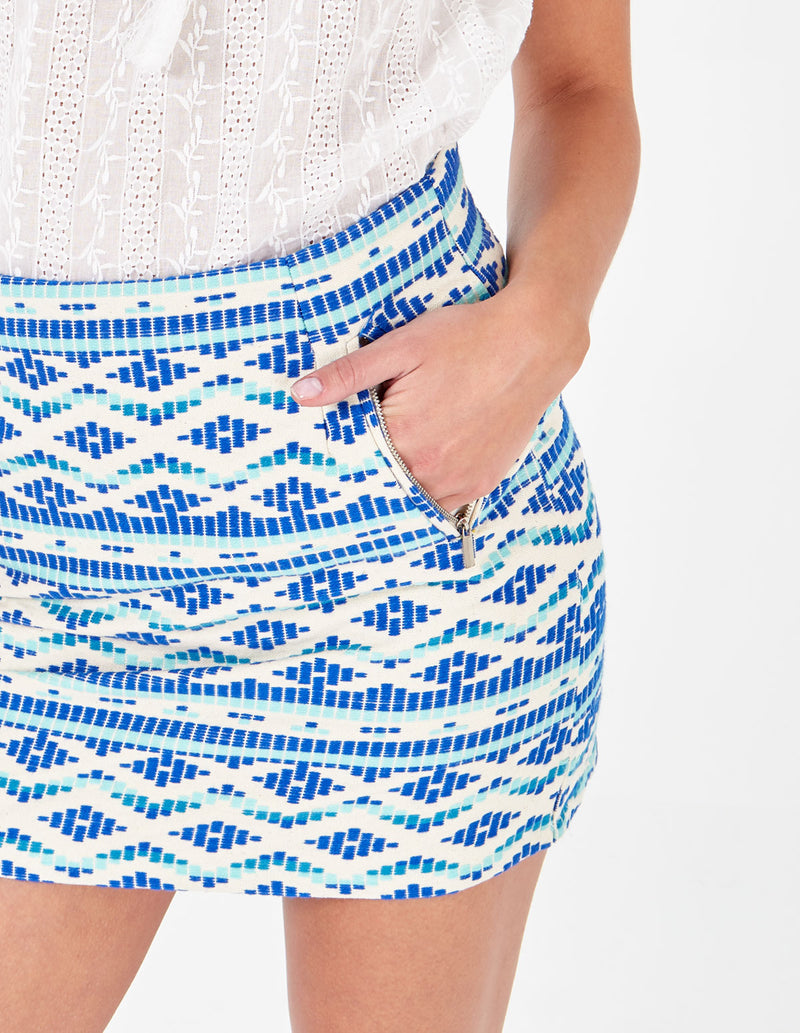 SIMRAN - Aztec Mini Blue Skirt
