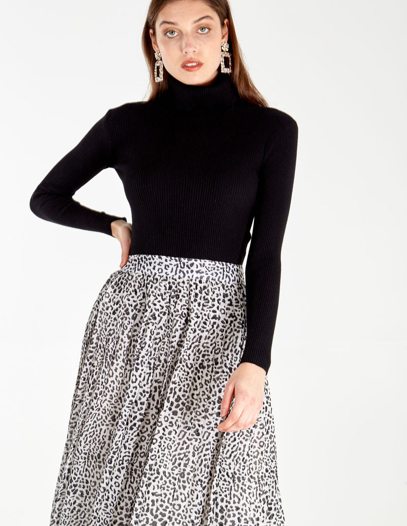 ROSABEL - Mini Leopard Pleated Midi Skirt