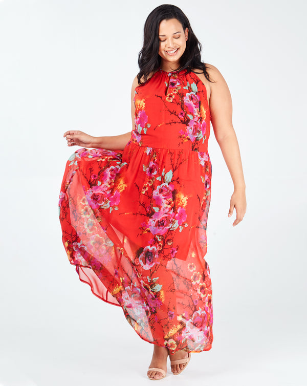 SARAH - Red Keyhole Halterneck Floral Print Maxi Dress
