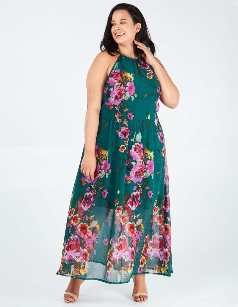 ELLIE - Green Keyhole Halterneck Floral Print Maxi Dress