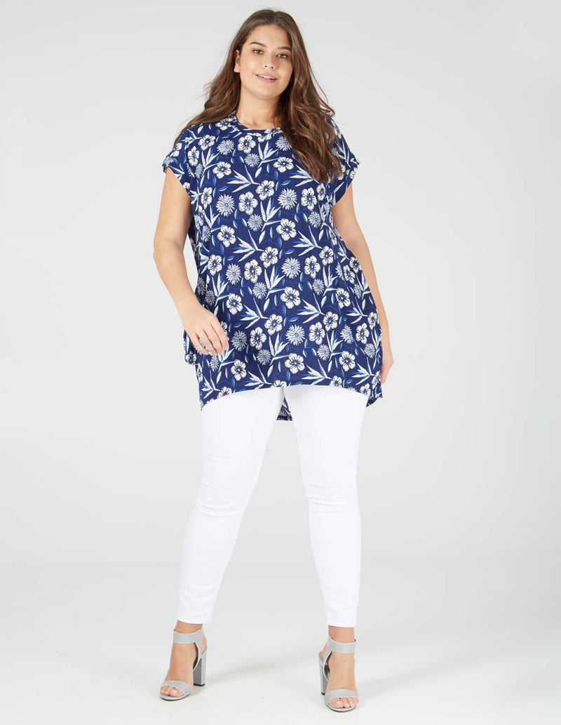ARIANA - Side Pocket Floral Print Navy Top
