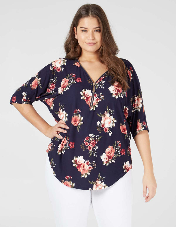 BROOKLYN - Curve Soft Touch Floral Zip Front Top