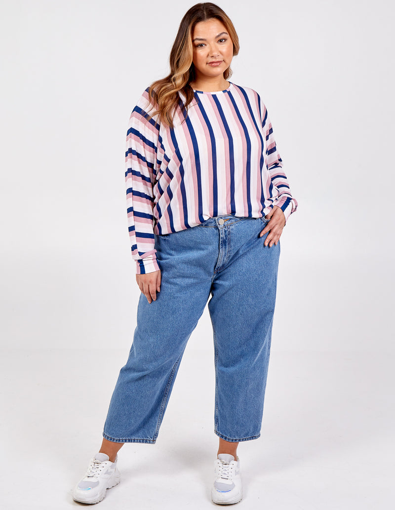 EDIE - Curve Striped Batwing Top