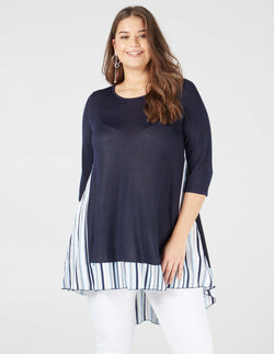 LILLIAN- Stripe Split Back Navy Top