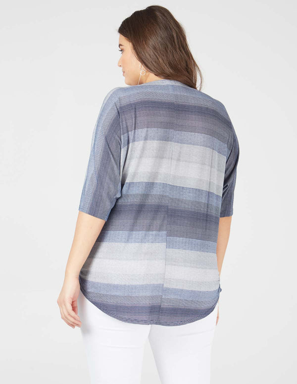 HARRIET - Stripe Zip Front Oversize Navy Top