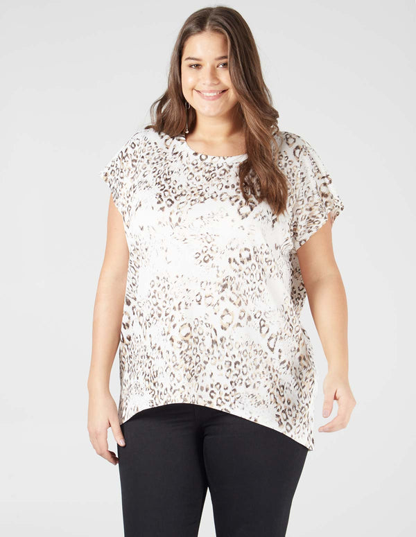 3ae9bac04f434 ... INDIARA- Animal Print Short Sleeve White Top