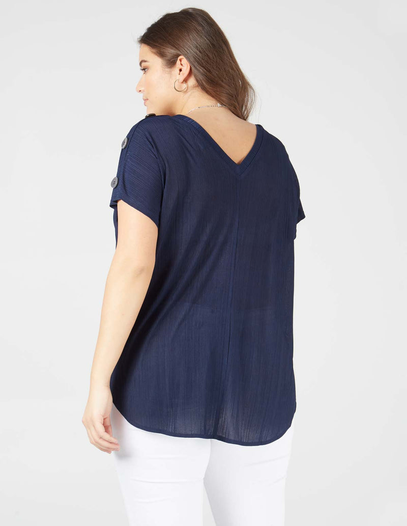 PENELOPE - V Back Buttoned Oversized Navy Top