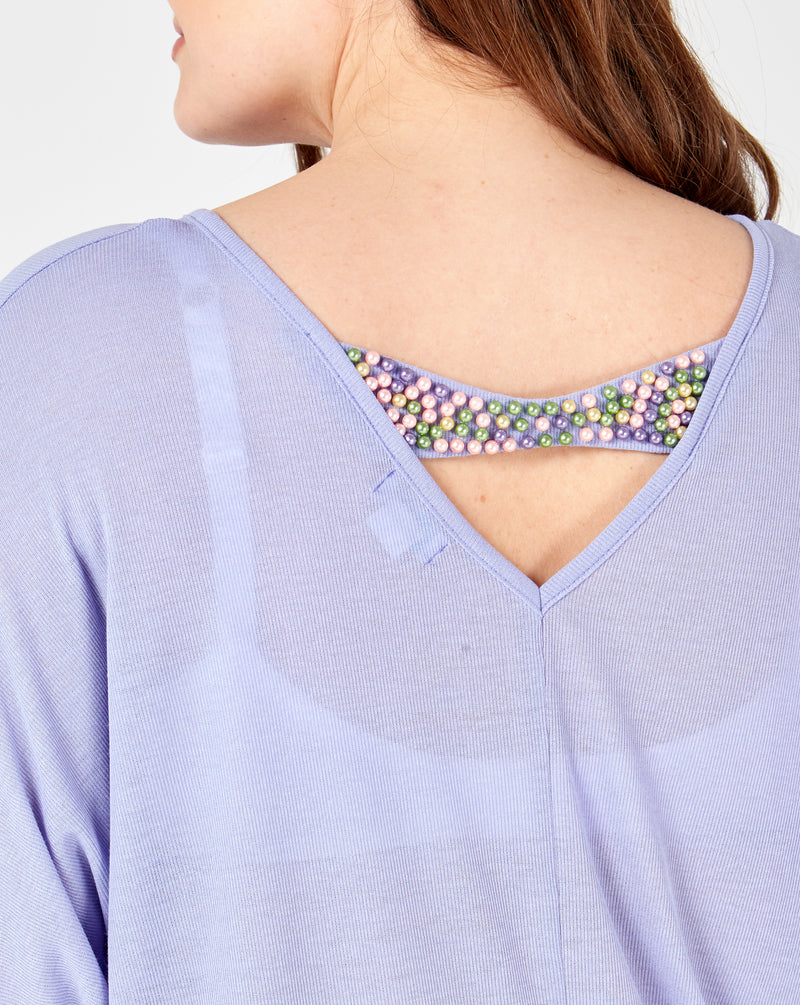 PEARL - Oversized Lilac Top With Beaded Back Detail