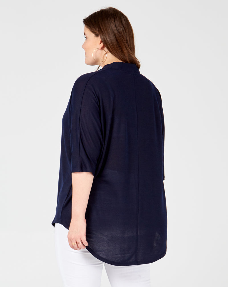 PRIYA - Button Front Oversized Navy Top