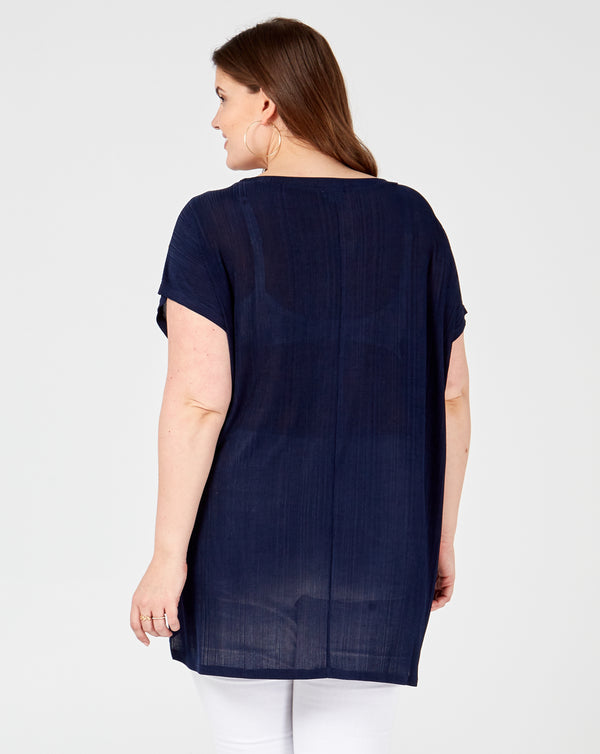 ANJALI - Short Sleeves Oversized Navy T-Shirt With Studs