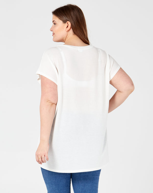 RHEA - White Diamante Chevron Top