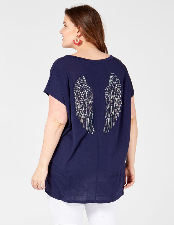 INES - Diamante Angel Wing Back Top