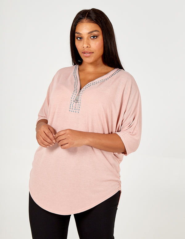 ROZA - Curve Oversize Zip Front Top With Studs