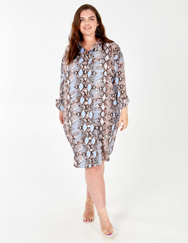 KAYLA - Snake Print Button Down Shirt Dress