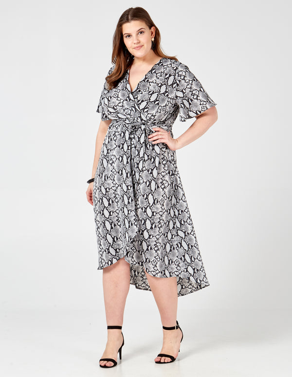 KATIE - Curve Snake Skin Printed Wrap Dress