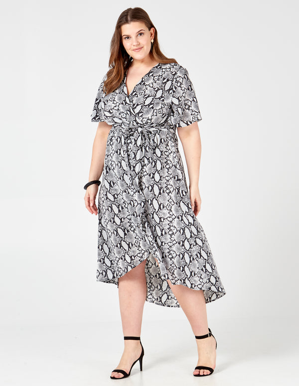 KATIE - Snake Skin Printed Wrap Dress