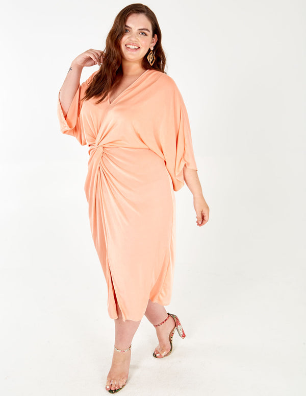 GLORIA - Twist Front Kimono Sleeve Midi Dress