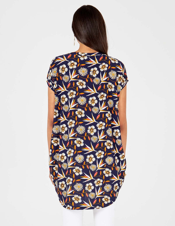 CECILIA - Navy Floral Print Side Pocket Oversized Top