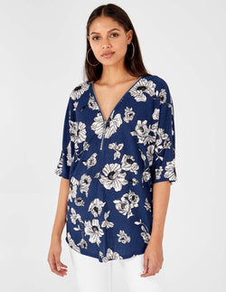 LAILA - Zip Front Floral Print Navy Top