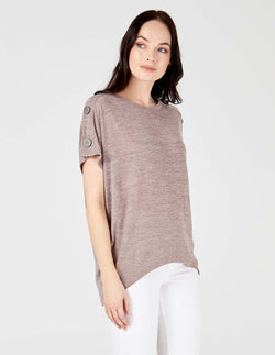 RADHIKA - Button Shoulder Oversized Pink Top