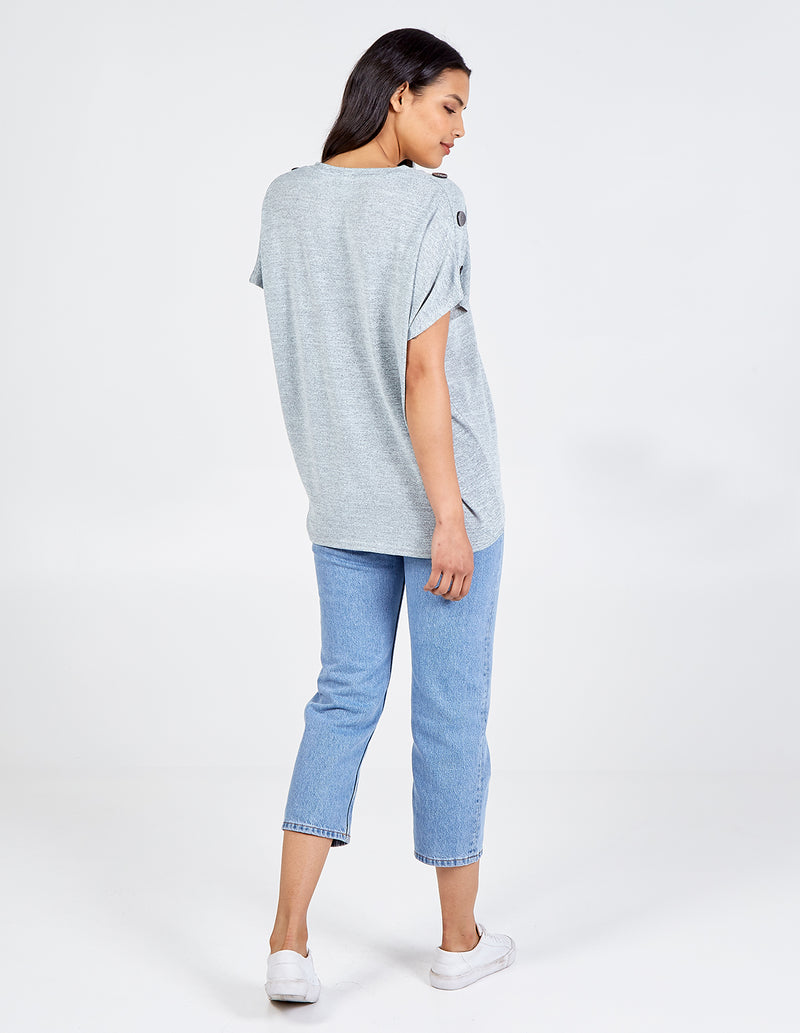 RADHIKA - Button Shoulder Oversized Top