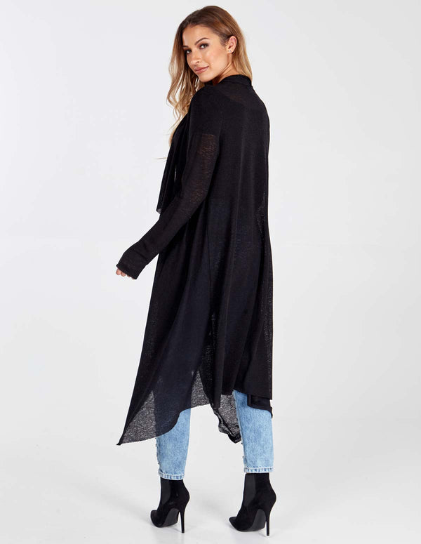 KAILEE - Black Waterfall Cardigan