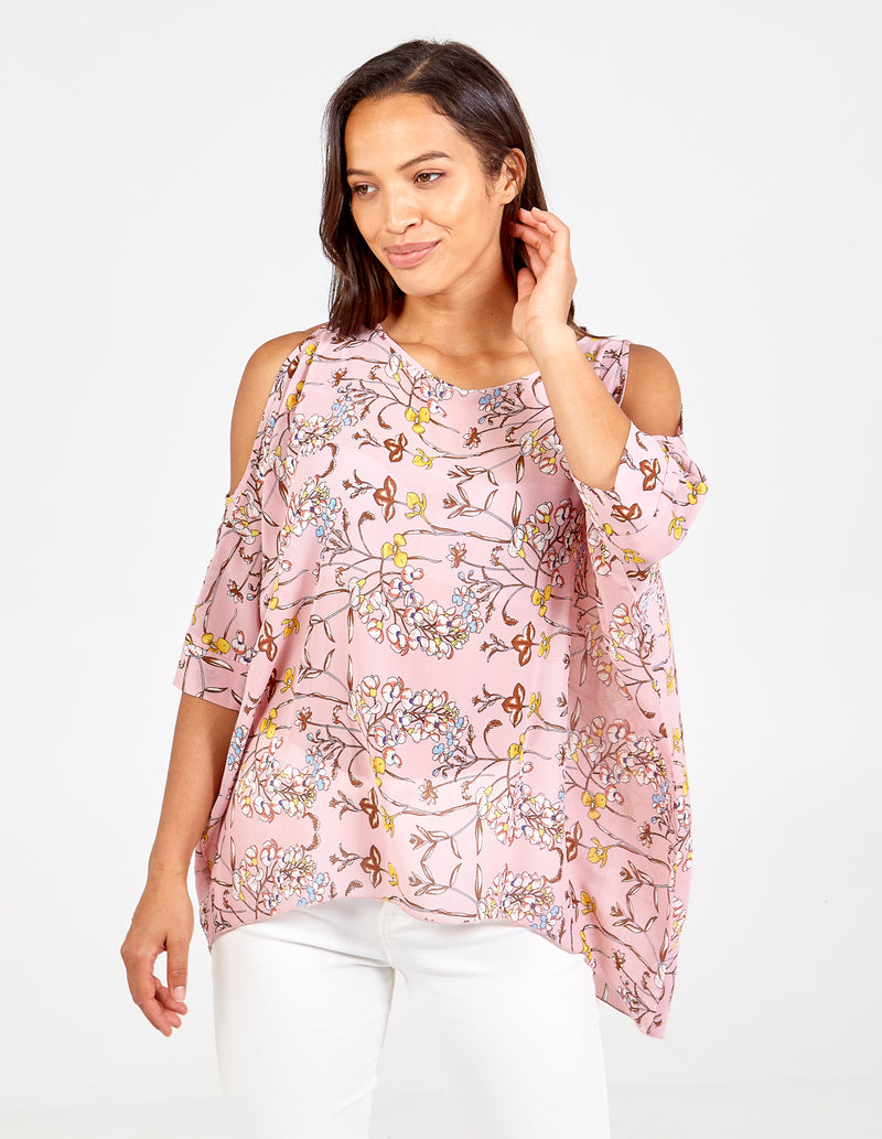 BRETTA - Floral Cold Shoulder Oversized Top