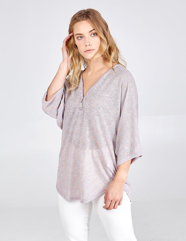 JACEY - Embellished Zip Front Top