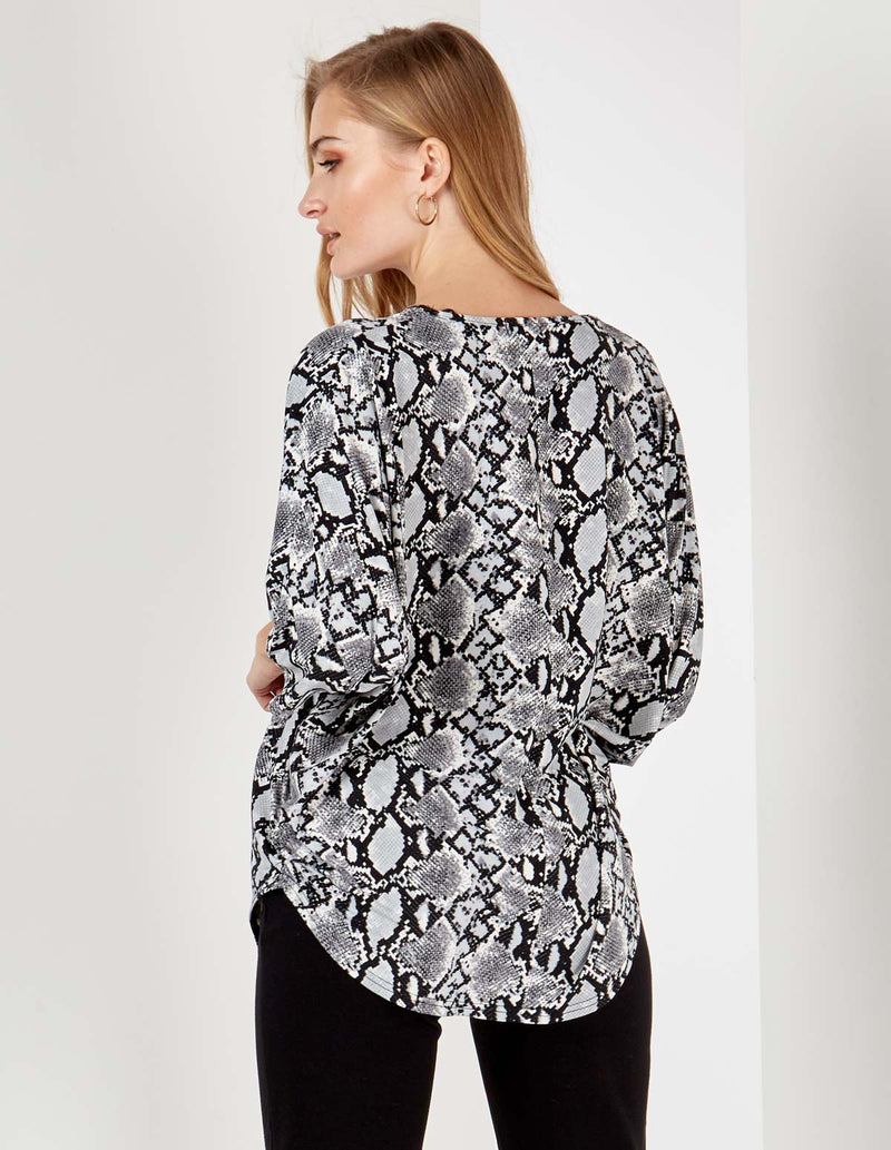 IMENA - Silver Zip Detail Grey Snake Print Top