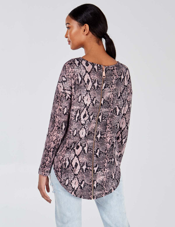 PALASHA - Pink Snake Long Sleeve Zip Back