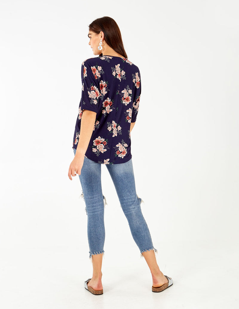 ARQUIDA - Zip Front Oversized Batwing Navy Top