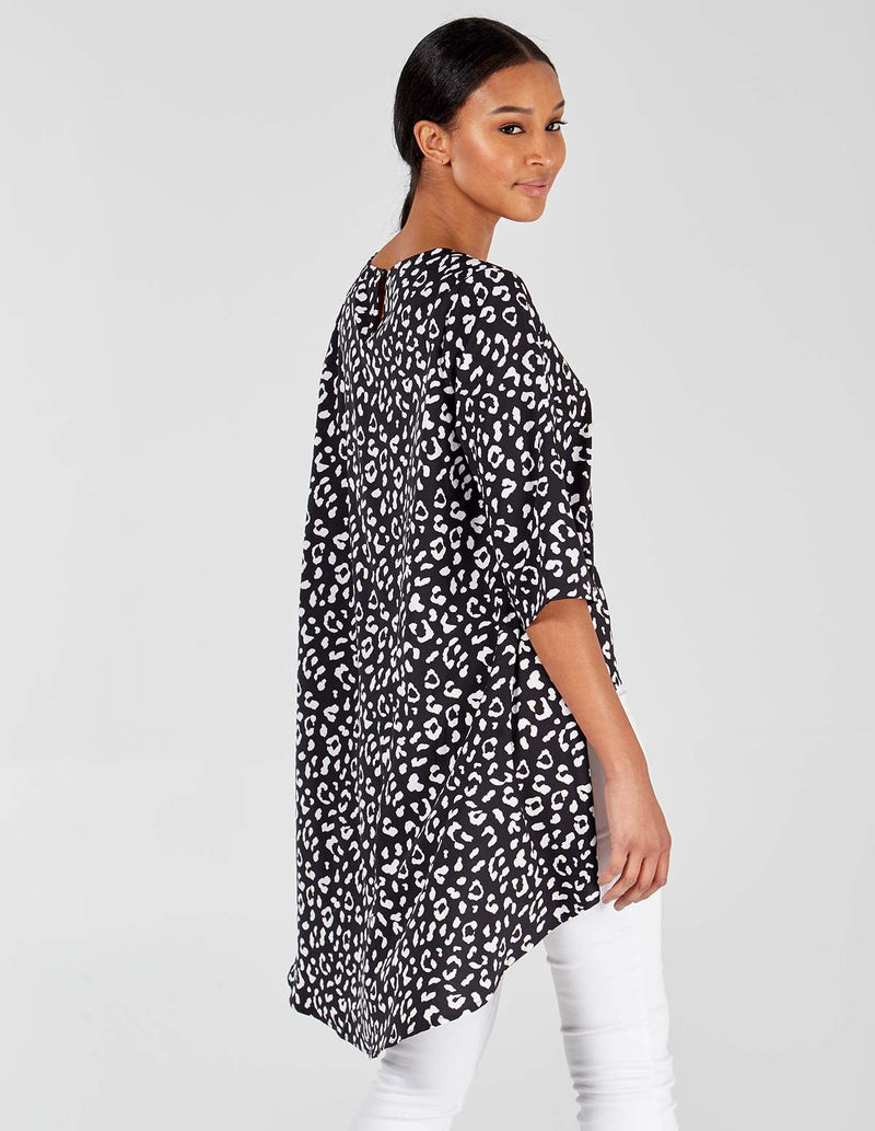 MARYETTA - Animal Print High Low Hem Black/Ivory Top