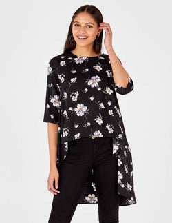 RUTH - Floral Print Hi Low Hem Black Top