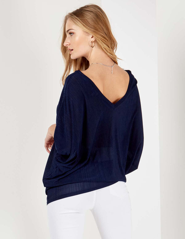 LAYLA - Double V Asymmetric Navy Top
