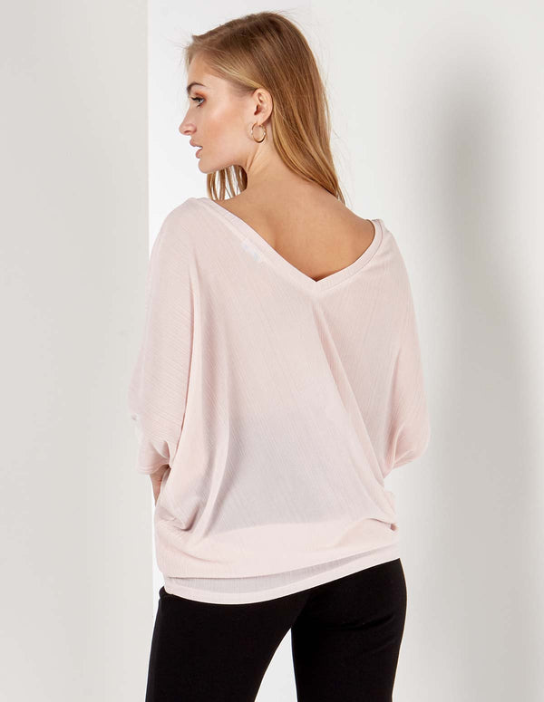 LAYLA - Double V Asymmetric Pink Top